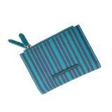 Carpeta de cuero de la PU de las nuevas de la llegada Lcq-055 de la raya de la impresión de señora Purse Women Wallet PU Leather de la carpeta carpetas de la tarjeta