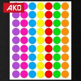 2017 Venta caliente pedazo redondo etiqueta etiqueta autoadhesiva de puntos de colores