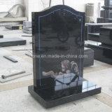 Headstone dritto di Ogee del granito nero con l'incisione di angelo
