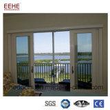 Puerta de cristal de desplazamiento excelente del marco de aluminio usada para el balcón