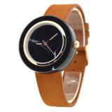 Reloj unisex del regalo del reloj de mármol natural negro clásico con la correa de cuero