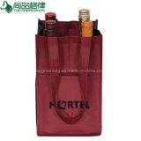 Bon marché promotionnel non tissées quatre Bouteille 4 Support de sac de bouteilles de vin