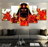 Guerras da estrela de cinema do painel da decoração moderna de Cuadros do retrato da pintura decoração modular da parede da arte da lona do caráter de 5 para a sala de visitas