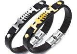 De nieuwe Charme Bracelet&Bangles van de Visgraat van het Roestvrij staal van het Ontwerp van de Armband van het Leer van de Mensen van de Manier Gouden/Zilveren Eenvoudige