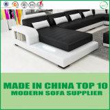 Sofá moderno de canto de couro de madeira da forma de U