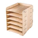 Cor de madeira 6 camadas do organizador de madeira D9120 do escritório de DIY