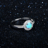 925 prata esterlina Zircónia Cúbicos Opal Ring Jóias