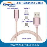 3 in 1 magnetischem USB, der Kabel-Nylonumsponnenes für iPhone Android und Typen-c auflädt