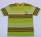 혼합 색깔에 있는 자수 로고를 가진 남녀 공통 줄무늬 t-셔츠