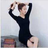 Europäische Art-Schwarz-mittlere Hülseirregular-Schlitz-Kleid-Wolle-Strickjacke-dünnes Kleid für Damen