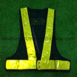 Sicherheits-Weste des Größen-justierbare schwarze Brei-Gelb-Reflektorstreifen-LED