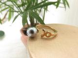 Anello grigio incantevole della perla placcato oro 18K con il cerchio di figura dei pesci