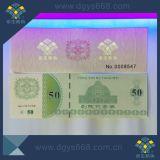 Custom Anti-Fake Ticket Cadeau coupon de garantie de sécurité de l'impression de pièce