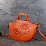 O saco de couro Hand-Painted novo de Rosa, saco de ombro