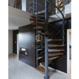 Черный спиральную лестницу из углеродистой стали с деревянной регулировки ширины колеи