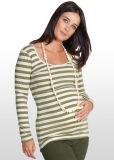 Parte superior de enfermagem Khaki-Striped/ Vestido de mulher