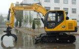 黄色く新しく小さいクローラー油圧掘削機の伝染性の木製機械