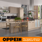 Governi di legno delle unità della cucina del pannello truciolare della melammina del grano di Oppein con l'isola (OP17-M03)
