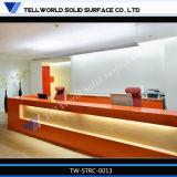 Scrittorio di ricezione bianco di lucentezza LED di fabbricazione professionale moderno