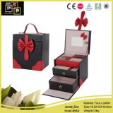Caja cosmética del organizador del maquillaje del cuero del cajón 2 (8092)