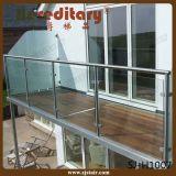 Balcão do vidro Tempered que cerc o aço inoxidável/trilhos de vidro da plataforma (SJ-S348)