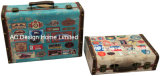 S/2 de Decoratieve Antieke Uitstekende Doos van de Koffer van de Opslag van de Druk Pu Leather/MDF van het Ontwerp van het Gas Houten