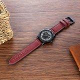Montre-bracelet de 6869 Mens à la taille 48mm, noir d'IP de boucle de la courroie en cuir solides solubles de caisse en métal plaqué