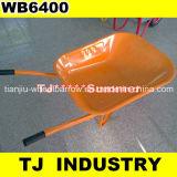 4.00-8空気のゴム製車輪が付いているフランスのモデル構成Wb6400の一輪車