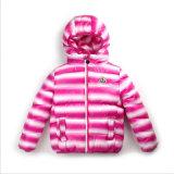 L'abito ha barrato il cotone dei bambini riempito con il cappuccio per i vestiti di inverno