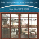 Puertas deslizantes rotas de aluminio del puente del grano de madera con el panel de cristal decorativo de la doble vidriera