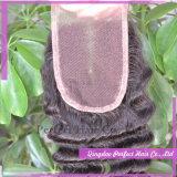 Приятный качества человеческого волоса кружева закрытие волос (4*4)