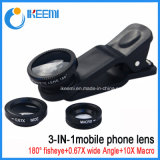 Clip universal 3 en 1 lente ojo de pez para teléfono móvil
