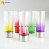 Чашка стрелка стекла съемки цвета стеклянная с основанием металла для партии