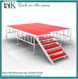 Fase esterna di alluminio portatile di Rk con la piattaforma rossa per l'evento