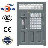 Двойной Doorleaf наружное покрытие Podwer безопасности стали стеклянные двери (W-SD-10)