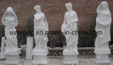 Statua di pietra di marmo bianca delle donne di arte che intaglia per il giardino
