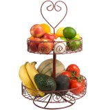 Soporte del metal del tazón de fuente del doble de la cesta de fruta