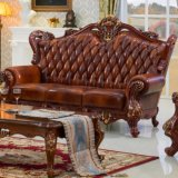 Sofá de cuero clásico mobiliario para el hogar (500)