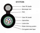 Le faisceau 12 Individu-Supportent le câble de fibre optique aérien de transmission d'armure de G652D (GYXTC8S)