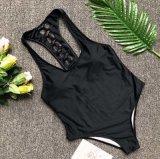 Kundenspezifische Form-hohe Taillen-Bodysuit-schwarze Dame Swimwear