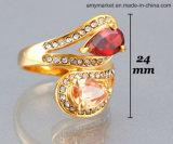 빛나는 물 하락 주옥 Diamante 시뮬레이션 보석 반지 18K 금 색깔 J00116