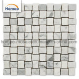 Nuovo di pietra naturale di cestino 3D di Carrara del tessuto delle mattonelle del marmo del mosaico della decorazione bianca della casa