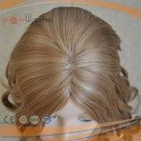 Menschenhaar-jüdische reine Frauen-blonde Perücke (PPG-l-0136)