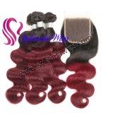 """Pacotes de 3+4""""x4"""" de onda do Corpo de fecho Lace #1b-99j Remy de cabelo humano com Envio gratuito"""