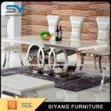 ホーム家具のステンレス鋼フレームの大理石のダイニングテーブル