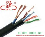 Cat5e 4pair ajoutent le fil du pouvoir 2c ajoutent le câble de réseau de fil d'acier et le câble de transmission