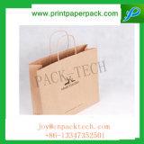 La impresión en color modificada para requisitos particulares torció el bolso de compras del papel revestido con la maneta de papel