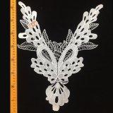 camicetta del testo fisso del collare del merletto del poliestere di modo di 32*41cm con la guarnizione del merletto di alta qualità del reticolo Hml8668 della piuma del pavone e del foglio