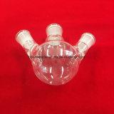 円形の最下の水晶ガラスのフラスコ3の首