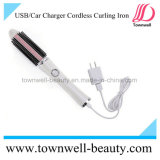 Venta caliente del cepillo del pelo sin cuerda recargable eléctrico del USB que se encrespa